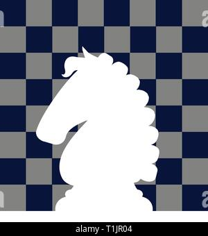 White knight chess piece reversed out of chess board background graphic - Stock Photo