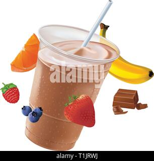 Chocolate frosty drink surrounded by fruit - Stock Photo