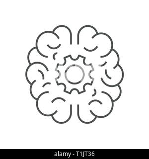 Human brain with cogwheel inside linear icon. Artificial intelligence concept. Technology progress. Thin line illustration. Contour symbol. Vector - Stock Photo