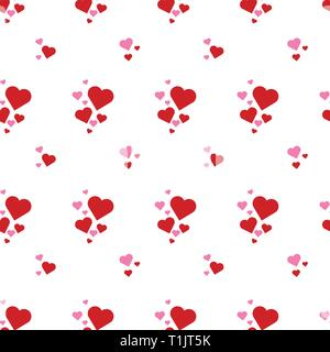 Heart shapes pattern combination in groups & combinations making geometrical designs & wallpaper style patterns - Stock Photo