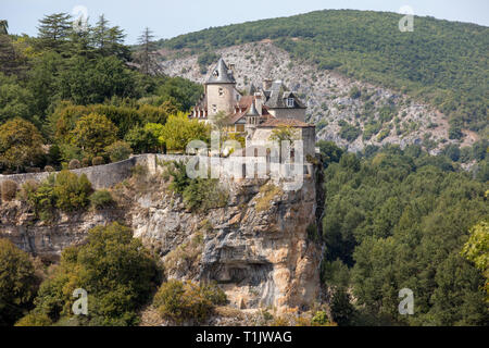 Castle of Belcastel in Lacave. Lot, Midi-Pyrenees, France - Stock Photo