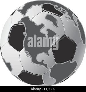Black & white soccer ball globe with continents - Stock Photo