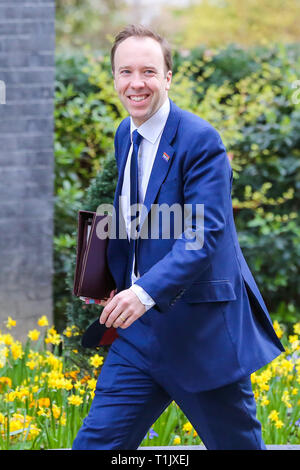 Matthew Hancock - Secretary of State for Health and Social Care seen arriving at the Downing Street to attend the weekly Cabinet Meeting. - Stock Photo
