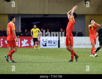 Shah Alam, Malaysia. 27th Mar, 2019. Players of China react after the Group J third round match between China and Maylasia at the AFC U23 Championship 2020 Qualifiers in Kuala Lumpur, Malaysia, March 27, 2019. The match ended in a 2-2 draw. Credit: Chong Voon Chung/Xinhua/Alamy Live News Stock Photo