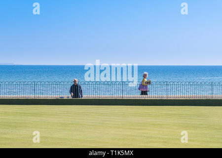 Newlyn, Cornwall, UK. 27th Mar, 2019. UK Weather. Bright sunny afternoon at Wherrytown, near Newlyn in Cornwall. Ideal time to freshen the paint on the railings at the bowling green on the seafront. Credit: Simon Maycock/Alamy Live News - Stock Photo