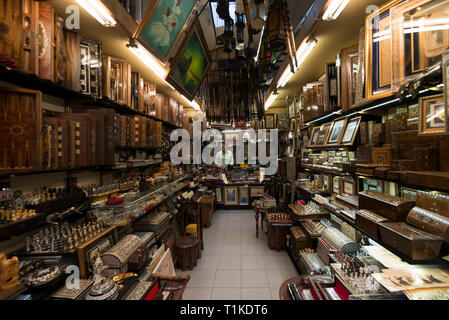 Grand Bazaar, Istanbul, Turkey - 04 23 2016: Antiquarian old and traditional wooden shop in the Grand Bazaar, Istanbul, Turkey - Stock Photo