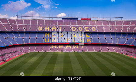 Interior of the stadium stands and indoor spaces Camp Nou In Barcelona Spain - Stock Photo