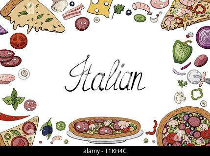 Set of hand drawn italian food elements isolated on white background  - Stock Photo