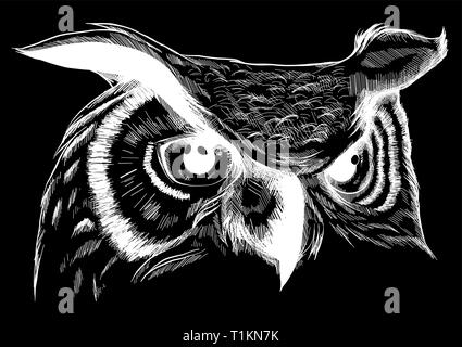 Owl - vector illustration. Icon design on black background.