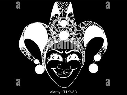 Decorated Venetian carnival, jester mask with bells and golden glitter, sketch style vector illustration - Stock Photo