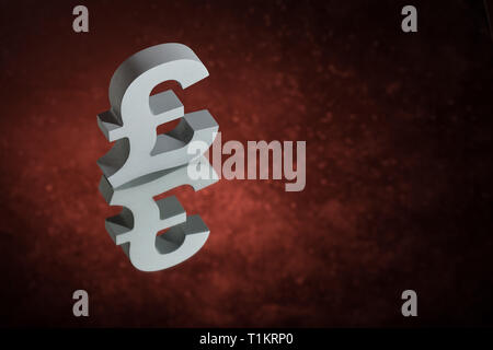 British Currency Symbol or Sign Pound With Mirror Reflection on Red Dusty Background - Stock Photo