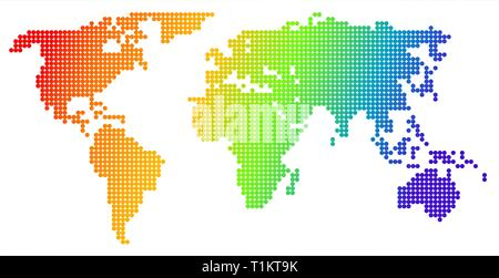 Map of the world, made from color dots - Stock Photo