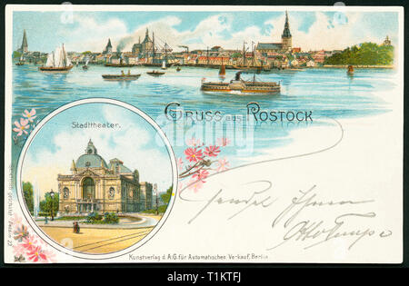 geography / travel, Germany, Mecklenburg West-Pomerania, Rostock, skyline and theatre, postcard, sent 1898., Additional-Rights-Clearance-Info-Not-Available - Stock Photo