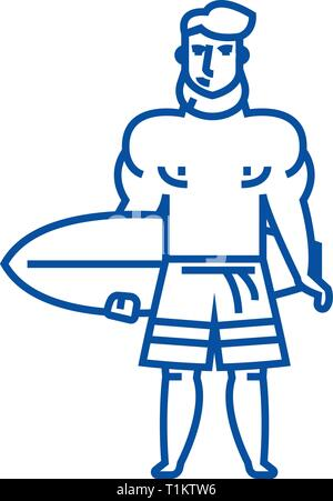 Strong man with surfing board line icon concept. Strong man with surfing board flat  vector symbol, sign, outline illustration. - Stock Photo