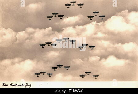 transport / transportation, aviation, military aircraft, fighter Heinkel He 51 of the Luftwaffe (German Air Force), a wing in formation, picture postcard, R. Zerle, Munich, circa 1935, Additional-Rights-Clearance-Info-Not-Available - Stock Photo