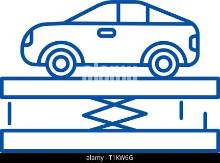 Suspension,car service line icon concept. Suspension,car service flat  vector symbol, sign, outline illustration. - Stock Photo