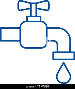 Tap water line icon concept. Tap water flat  vector symbol, sign, outline illustration. - Stock Photo