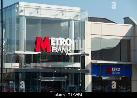 A high street branch of the Metro Bank / Metrobank bank. Two Rivers Shopping Centre. Staines-upon-Thames, Surrey, England. UK - Stock Photo