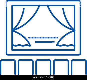 Theater, show line icon concept. Theater, show flat  vector symbol, sign, outline illustration. - Stock Photo