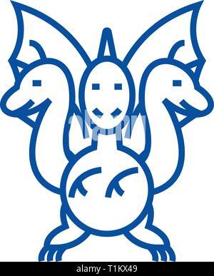 Three headed dragon  line icon concept. Three headed dragon  flat  vector symbol, sign, outline illustration. - Stock Photo