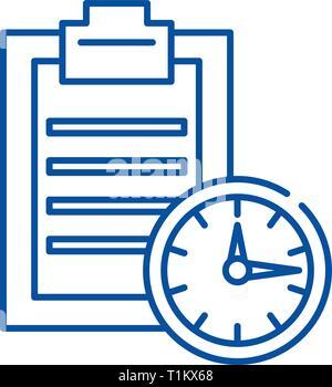 Time limit line icon concept. Time limit flat  vector symbol, sign, outline illustration. - Stock Photo
