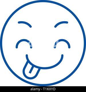 Tricky emoji line icon concept. Tricky emoji flat  vector symbol, sign, outline illustration. - Stock Photo
