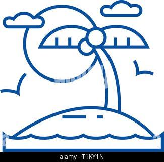 Tropical beach, island line icon concept. Tropical beach, island flat  vector symbol, sign, outline illustration. - Stock Photo