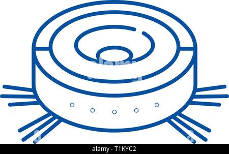 Vacuum cleaner robot line icon concept. Vacuum cleaner robot flat  vector symbol, sign, outline illustration. - Stock Photo