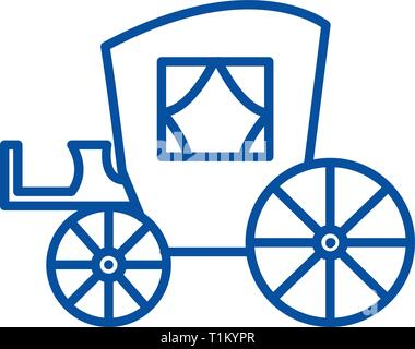Vintage carriage,antique transport line icon concept. Vintage carriage,antique transport flat  vector symbol, sign, outline illustration. - Stock Photo