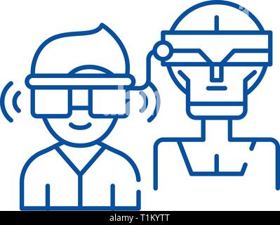 Virtual artificial intelligence line icon concept. Virtual artificial intelligence flat  vector symbol, sign, outline illustration. - Stock Photo