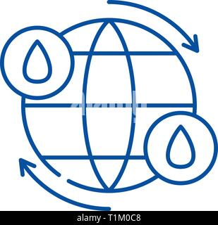 Water cycle line icon concept. Water cycle flat  vector symbol, sign, outline illustration. - Stock Photo