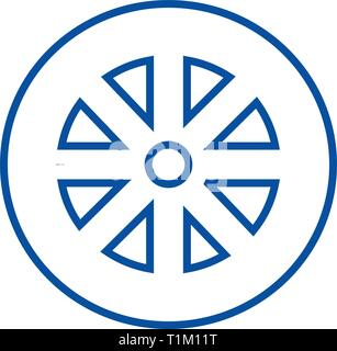 Wheel line icon concept. Wheel flat  vector symbol, sign, outline illustration. - Stock Photo