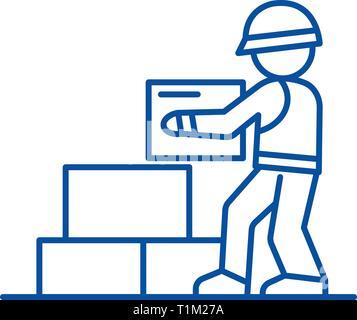 Worker builder taking bricks line icon concept. Worker builder taking bricks flat  vector symbol, sign, outline illustration. - Stock Photo