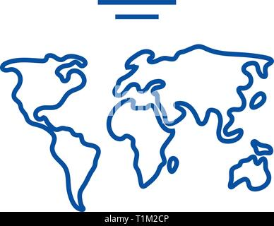 World map  line icon concept. World map  flat  vector symbol, sign, outline illustration. - Stock Photo