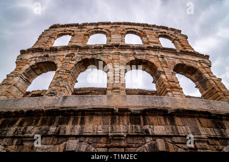 Verona, Italy. The Verona Arena is a Roman amphitheater in the city center, built in the first century, Verona, Italy - Stock Photo