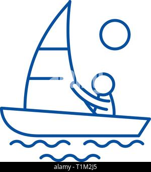 Yachting line icon concept. Yachting flat  vector symbol, sign, outline illustration. - Stock Photo