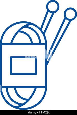 Yarn line icon concept. Yarn flat  vector symbol, sign, outline illustration. - Stock Photo