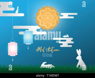 Creative illustration happy Chinese mid autumn festival.  Vector design for banner, wallpaper, poster, invitation card, advertising. Mooncake with lan - Stock Photo