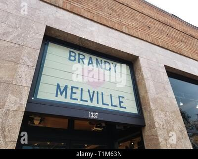 Low-angle view of the Brandy Melville boutique clothing store in Walnut Creek, California, December 5, 2018. () - Stock Photo