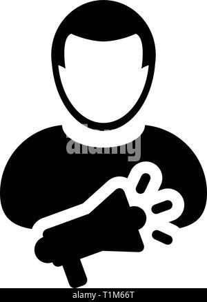 Speaker icon vector male person profile avatar symbol with