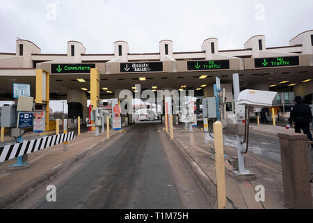 United States Customs and Border Patrol (CBP) port of entry station on the Juarez Lincoln International Bridge #2 between the US and Mexico. Stock Photo