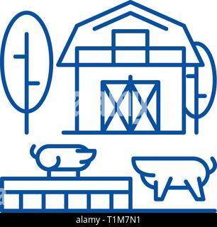 Livestock line icon concept. Livestock flat  vector symbol, sign, outline illustration. - Stock Photo