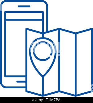 Location line icon concept. Location flat  vector symbol, sign, outline illustration. - Stock Photo