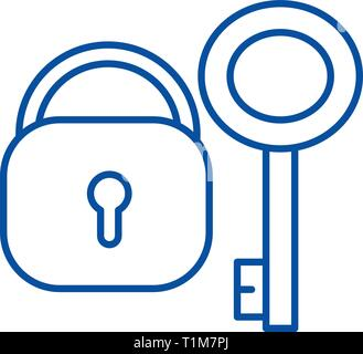 Lock with key line icon concept. Lock with key flat  vector symbol, sign, outline illustration. - Stock Photo