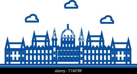 London parliament line icon concept. London parliament flat  vector symbol, sign, outline illustration. - Stock Photo