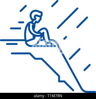 Loneliness line icon concept. Loneliness flat  vector symbol, sign, outline illustration. - Stock Photo
