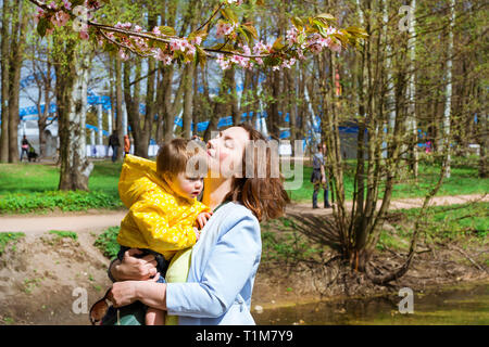 Young woman with a child in her arms happy Sakura blossom in spring Park. Joy of motherhood and child development. Cherry blossom tree in late spring. Flora of North-West of Russia, St-Petersburg - Stock Photo