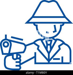 Mafia, man with gun line icon concept. Mafia, man with gun flat  vector symbol, sign, outline illustration. - Stock Photo