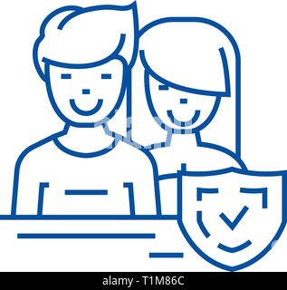 Man and woman,front,shield line icon concept. Man and woman,front,shield flat  vector symbol, sign, outline illustration. - Stock Photo