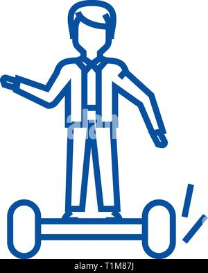 Man on gyroscooter line icon concept. Man on gyroscooter flat  vector symbol, sign, outline illustration. - Stock Photo